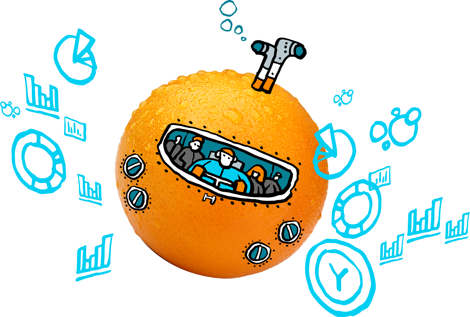 Group of individuals diving into the sea of data in their orange submarine
